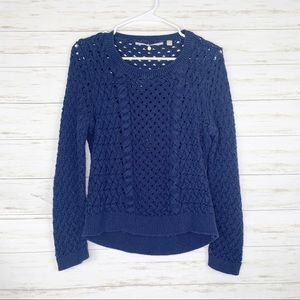Knitted & Knotted | Navy Blue Cable Knit Sweater